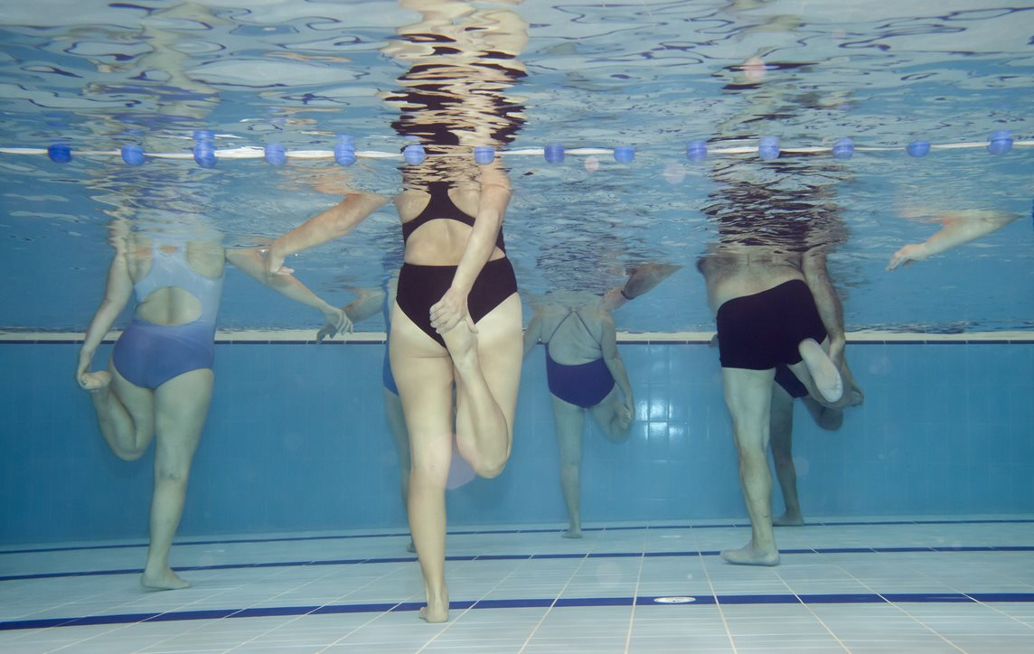 Underwater picture of an aerobics class